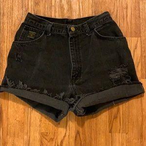 Distressed High Waisted Black Wrangler Shorts